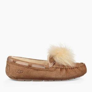 New Women's Chestnut UGG pom pom slippers size 8